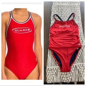 TYR Guard red solid one piece swimsuit